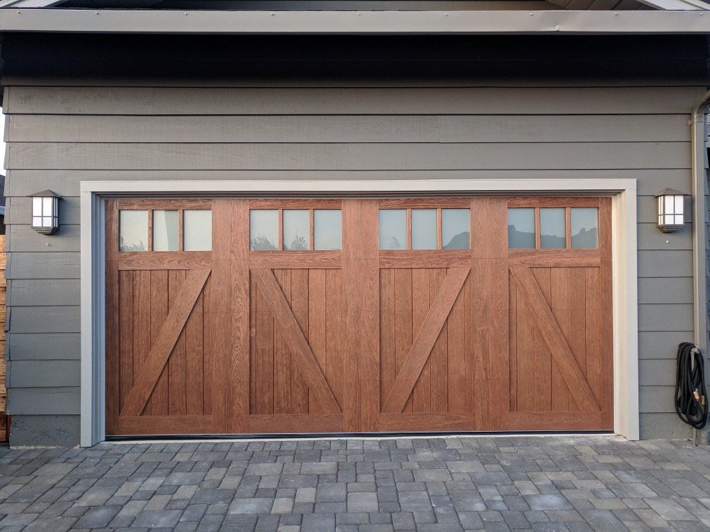 double wooden garage doors with windows